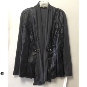 NWT Open Design Faux Leather Cardigan